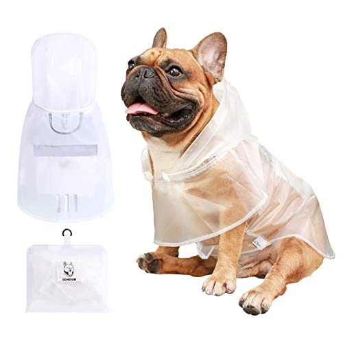 iChoue Dog Raincoat Packable Waterproof Adjustable with Reflective Straps Lightweight Rain Jacket Poncho for Medium French Bulldog Pug (Clear, M)