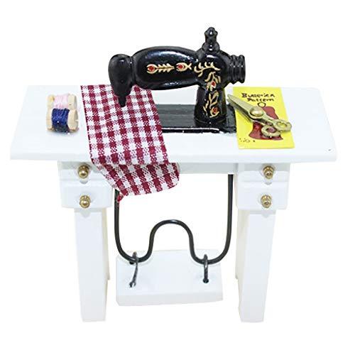 Luccase Mini Sewing Machine Puppenhaus Decoration Harz und Legierung Mini Nähmaschine für Mädchen, 1:12 Maßstab, 80x80x34 mm