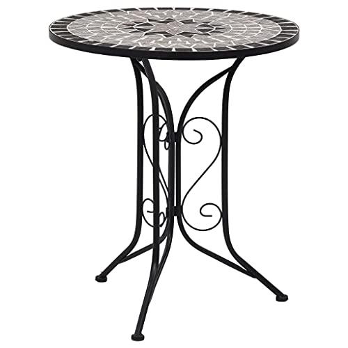 vidaXL Mosaik Bistrotisch Gartentisch Balkontisch Mosaiktisch Terrassentisch Tisch Beistelltisch Couchtisch Gartenmöbel Grau 61cm Keramik