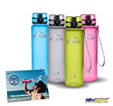 NEWSUMIT Botella De Agua Deportiva Superior - BPA Free Tritan - 350ml - 500ml -1000ml - Todo Uso (Verde, 350ml - 12oz)
