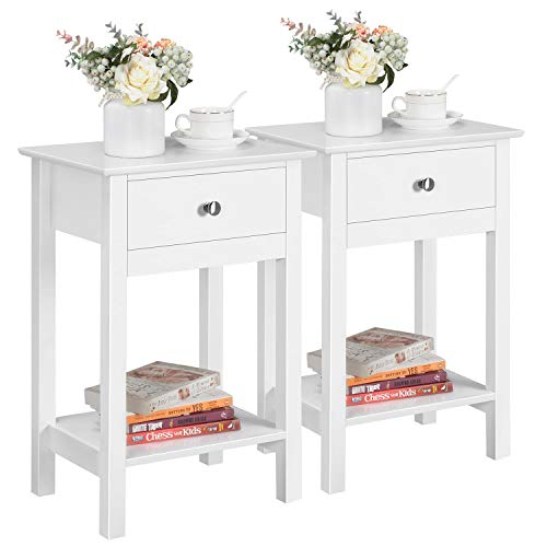 Yaheetech Set of 2 Nightstand Modern End Tables With 1 Drawer, Bedside Table with Bottom Storage Shelf for Living Room Bedroom 40 x 30 x 61 cm, White