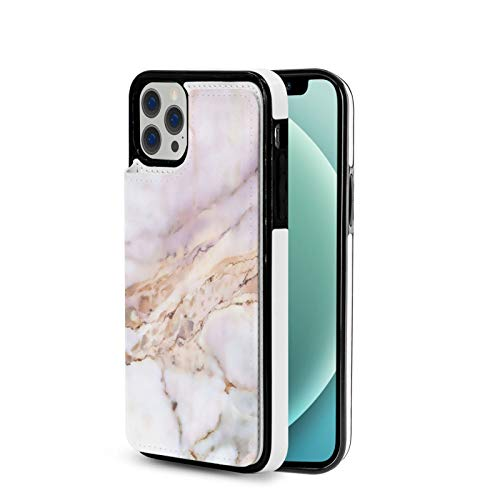 Marble Surfaces Compatible with iPhone 12 Case/ 12 Pro/12 Mini and 12 Pro Max Case,Wallet Case,PU Leather Flip Case with Card Holders RFID Blocking Kickstand Phone Cover 6.1 Inch
