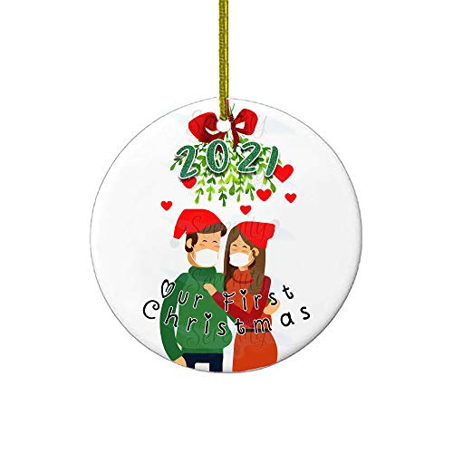 Christmas Ornaments | Our First Christmas 2021 Funny Quarantine Gift | 1st Holiday XMAS Tree Ornament For Newly Weds Wedding Couple Gifts | Social Distancing Novelty | Ceramic Holiday