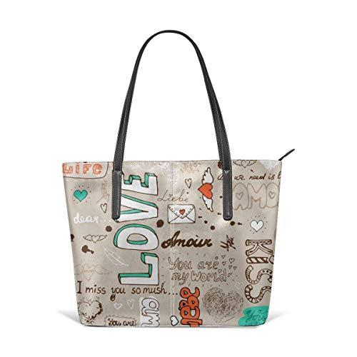 BAODANLA Borse a spalla da donna Women's Stylish Casual Tote Bag Canvas Travel Bags You are My Life Shoulder Bags