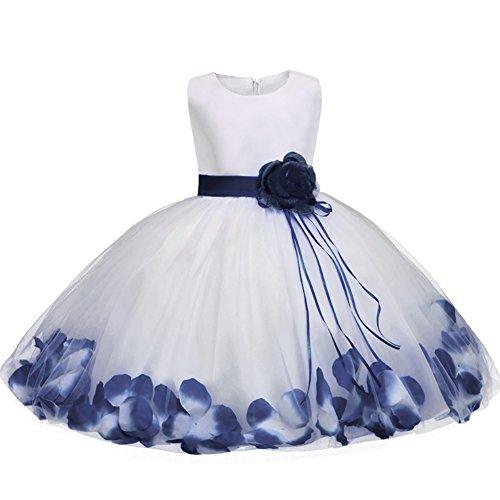 GUOCU Abito Bambina Principessa Vestito da Cerimonia per Damigella con Bowknot Floreale Abiti per Matrimonio Carnevale Natale Regalo Blu 2 XL