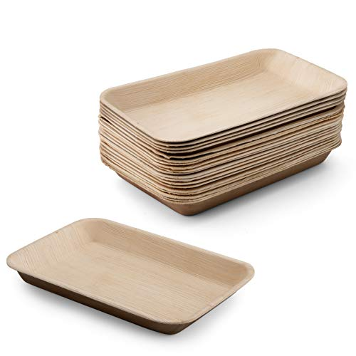 Natural Biodegradable Palm Leaf Tray - Pack of 20, Soak Free 100% Compostable like bamboo better than paper (Rectangular Tray 9 inch X 6 inch)