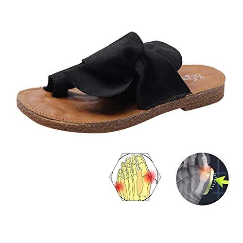 LOVEXIN Sandalias de Mujer con Lazo para Mujer Cómodas Zapatillas de Verano Deslizamiento Zapatos de Caminar Casuales Zapatos de Viaje Caucho,Negro,41