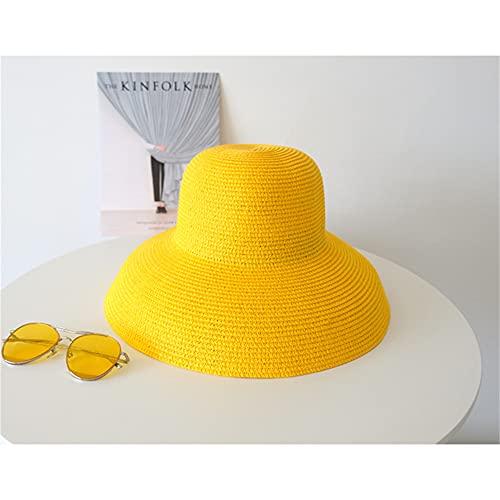 Sombrero de Sol de Verano Hecho a Mano para Mujer, Aleros Grandes, Estilo de Playa, Gorra de Pescador Plegable, Temperamento Plano-Big Brim Yellow