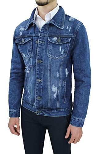 Evoga Giubbotto di Jeans Uomo Estivo Casual Blu Denim Giacca Giubbino Slim Fit (L, Blu #A04)