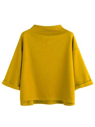 SweatyRocks Women's 3/4 Sleeve Mock Neck Basic Loose T-Shirt Elegant Blouse Top (X-Large, Yellow)