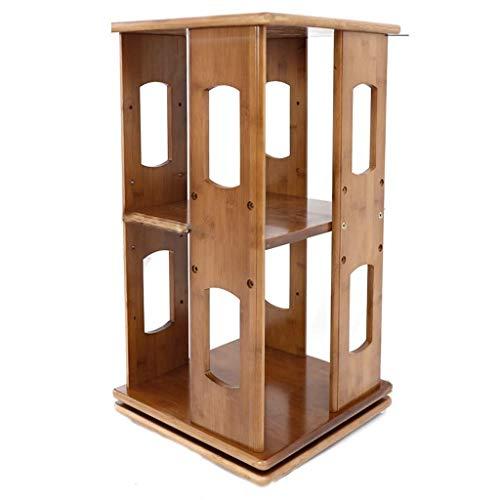 Bookshelf Natural Bamboo Bookshelf Revolving Bookcase,360° Rotating Organizer Swivelling Storage Tower Bookcase Shelf Storage Organizer Display Rack (Color : B) Home