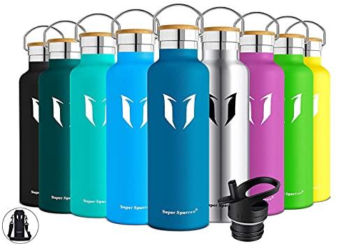 Super Sparrow Trinkflasche Edelstahl Wasserflasche - 750ml - Isolier Flasche mit Perfekte Thermosflasche für Das Laufen, Fitness, Yoga, Im Freien und Camping   Frei von BPA (Dunkelblau)