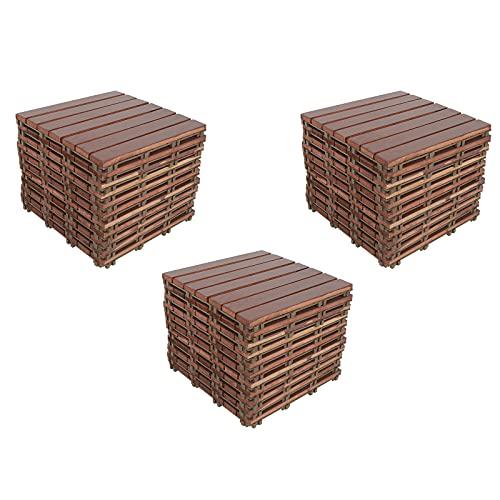 Wooden Patio Deck Tiles(Brick Red,33 PCs),DIY Interlocking Decking Tiles, Floor Tile,Water Resistant Indoor Outdoor