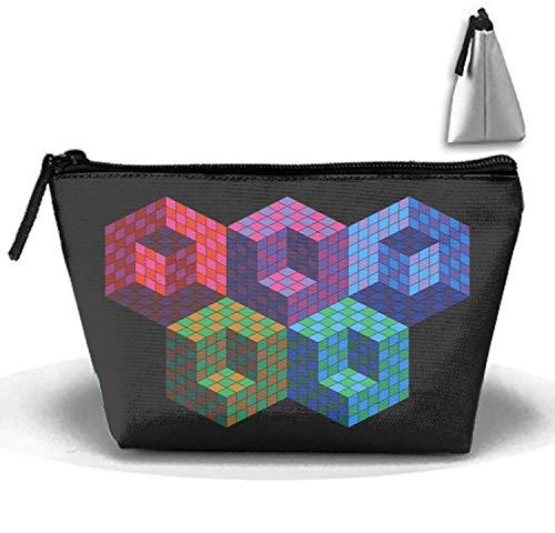 Cosmétiques Sacs Brosse Poche Coloré Cubes Portable Maquillage Sac Fermeture éclair Trapézoïdal Strorege Sac