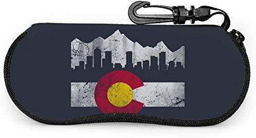Funda para gafas de sol de viaje con diseño de bandera de montaña de Colorado con clip de gancho para unisex