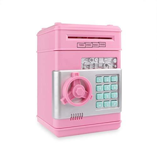 Hucha Hucha Hucha Contraseña Cajero Automático Caja de Efectivo Monedas Caja de Depósito Caja Fuerte Banco Billete 19.2X13.8Cm Rosa