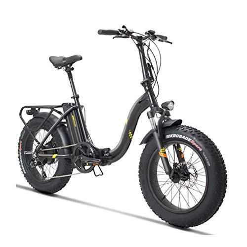 D&XQX Strand, Schnee Rad Fahren, Folding Electric Bike, 20 Zoll Fat Reifen E-Bike für Erwachsene 48V Abnehmbare Lithium-Batterie mit 500W bürstenlosen Getriebemotor Elektro-Fahrrad