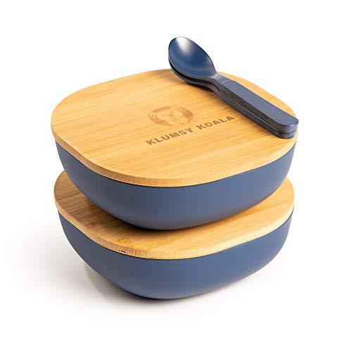 Klumsy Koala 2 Stück Premium Bambusschale (Blau) abgerundet 550 ml I Bambus Servierschüssel Suppenschale Schüssel Holzschale Müslischale Dekoschale Obstschale Salatschüssel Geschirr