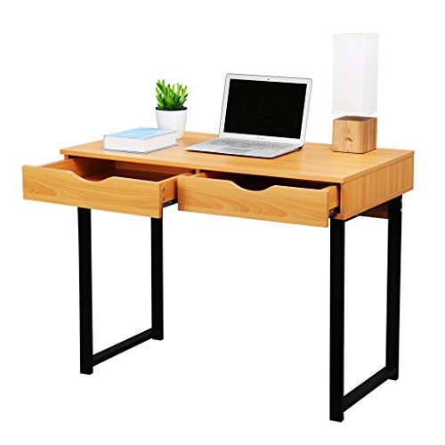 LANGRIA Office Computer Desk Modern PC Laptop Table Study Home Writing Desk with Drawers, Pear Wood Color