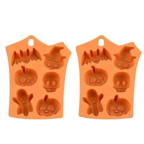 Halloween Backform/Muffinform, 2 Stück Keks Molds Silikon Kuchenform für Muffins Schokoladen Cupcakes Pudding Eiswürfel und Gelee