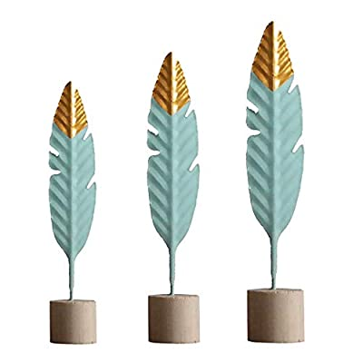 ORYOUGO 3 Pieces Modern Feather Statues Metal Mint Green Crafts Sculpture Desktop Ornaments Home Office Figurine Accent Decor, S+M+L