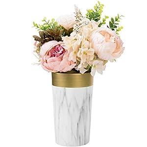 Silk Flower Arrangements MyGift 8-inch Marble Pattern Gold & White Ceramic Flower Vase