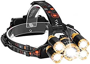 Rechargeable LED Headlamp, Bright 5 LED Headlight Zoomable Waterproof Headlamps Flashlight for Cycling, Running, Dog Walki...