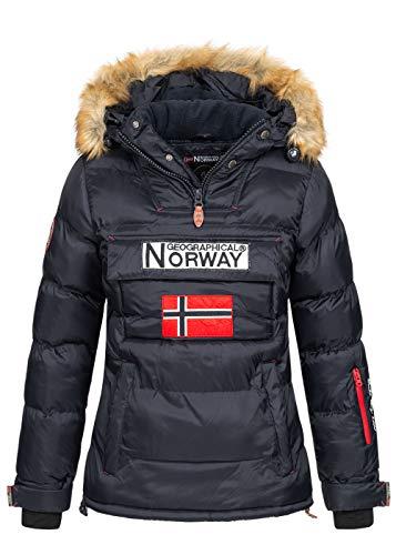 Geographical Norway BELANCOLIE Lady - Parka de Mujer cálida - Abrigo Capucha de Piel sintética - Chaqueta Invierno Acolchada - Chaqueta Corta Forro cálido - Regalo de Mujer (Azul Marino S) Talla 1