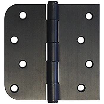 6 Pack Oil Rubbed Bronze Finish Interior Exterior Door Hinges Us10b 4 L X 4 H Inch Straight Corner X 5 8 Round Radius Amazon Com