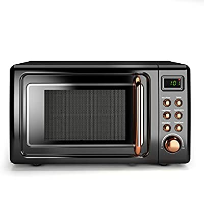 Retro Microwave Oven,Safeplus 0.7Cu.ft, Countertop 700W Microwaves with Cold Rolled Steel Plate 5 Micro Power Defrost & Auto Cooking Function LED Display Glass Turntable and Viewing Window Child Lock