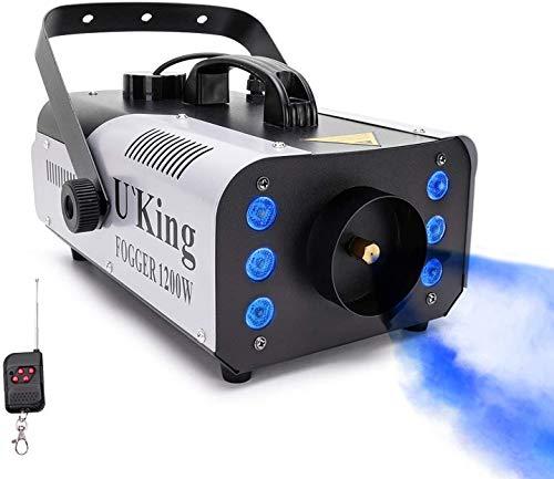 Nebelmaschine, MORFIT 1200W LED Rauchmaschine Mit 5600 CFM Fog 6-stufige LED-Leuchten mit Sicherungsschutz Drahtlose Fernbedienung für Feiertage Partys Hochzeiten Weihnachten Halloween
