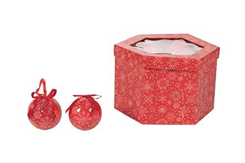 Galileo Casa Set 14 Palle Natale 7,5 cm Fiocco Neve Rosso, Misure: Ø