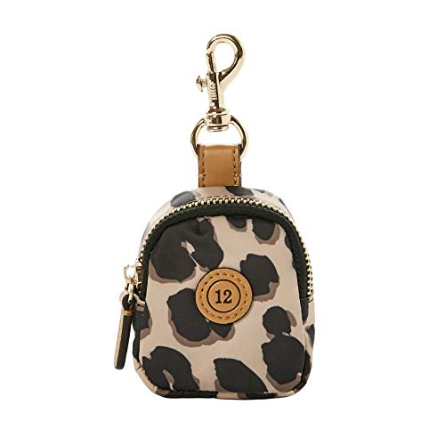 """Twelvelittle Little Pouch Charm - Pacifier Case with Clip – Pod Includes Clasp to Easily Attach to a Diaper Bag or Purse - Measures 2.5"""" in Diameter & Holds 2 Pacifiers (Leopard Print)"""