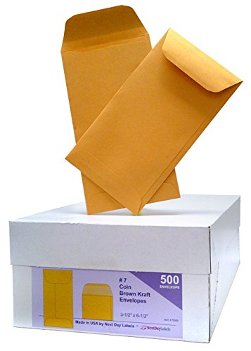 """Box of 500# 7 Coin Brown Kraft Envelopes, for Small Parts, Seeds, Cash Etc, Gummed Flap (Size: 3-1/2"""" x 6-1/2"""")"""