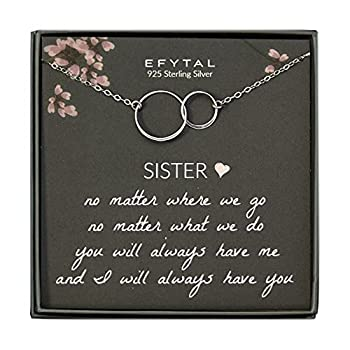 EFYTAL Sister Gifts from Sister 925 Sterling Silver Double Circle Necklace Birthday Jewelry Gift Necklaces for Sisters No Matter