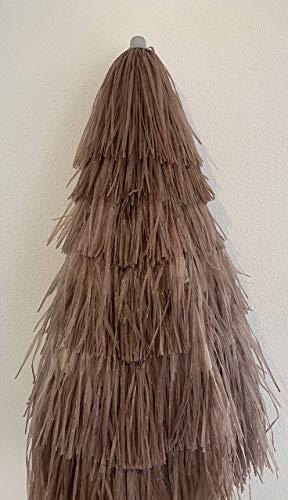 Maffei Kenya Sonnenschirm Bastschirm Ø 180/200cm Raffia 8 Streben & Stahlknicker Hawaii Style braun