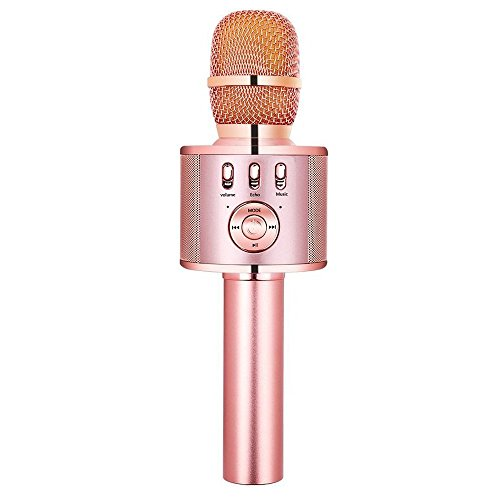 VERKB Wireless Karaoke Microphone H15, Built-in Magic Sound and FM Function, Portable Bluetooth karaoke Machine for Smartphone Home Party, Team Building (Rose Gold)
