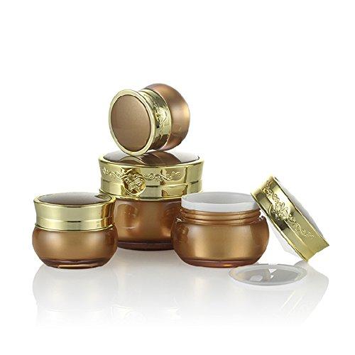 1 x 30 ml leer, goldener gehobener nachfüllbarer Acryl-Behälter für Make-up, Kosmetik, Gesichtscreme, Lotion, Behälter mit Einsätzen und Schmetterlings-Ornament-Gravur,...