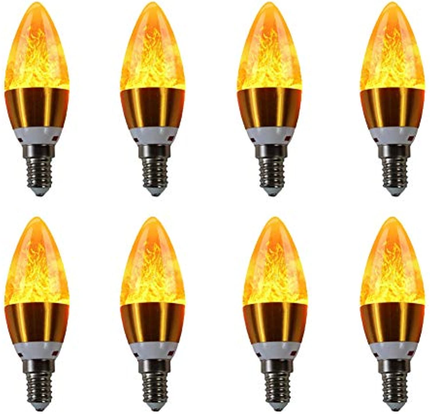 Leisure City Flammenlampe Atmosphre Dekorative brennende Birnen Antike Laterne Glühbirnen Kandelaber Licht mit E12 Standard Base für Hauptdekoration Restaurants 8 Pack