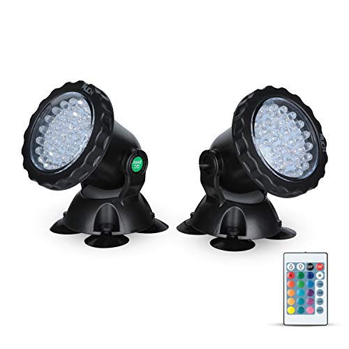 MUCH Underwater Pond Light with Remote Control Waterproof IP 68 Submersible Spotlight 36-LED Bulbs 5 W Multi-Color Spot Light for Aquarium Garden Pond Aquarium Tank Fountain Waterfall Set of 2