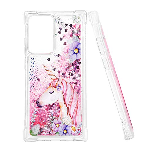 Mavis's Diary Liquid Glitter Case for Galaxy Note20 Ultra, Cute Bling Cover Pink