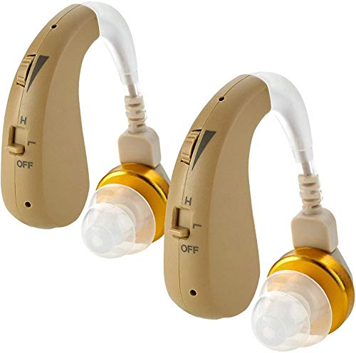 Digital Ear Hearing Amplifier Pair - Premium Quality Rechargeable Behind The Ear (BTE) Personal Sound Device