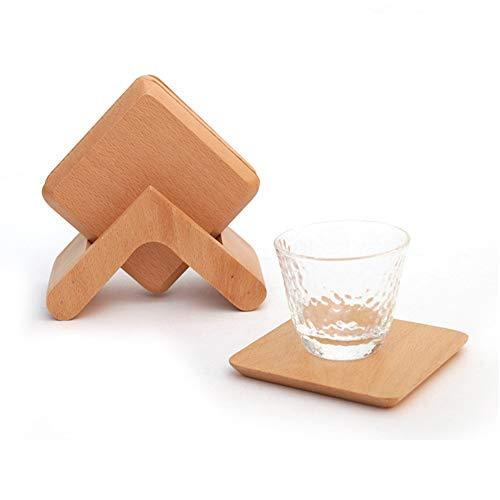 Posavasos de madera para mesa de comedor, alfombrilla aislante, de madera, posavasos de té de nogal, juego adecuado para cocina, restaurante o café