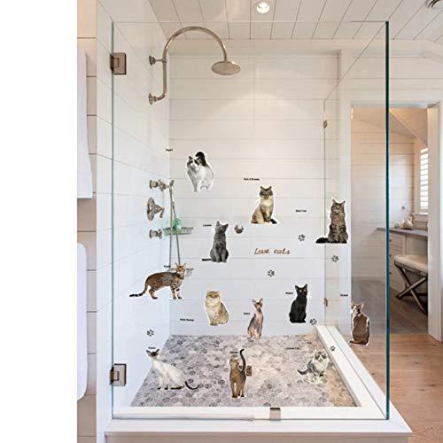 MMLFY Muurstickers DIY Cats Party Kinderkamer Glazen Raamdecoratie Afneembare Muurstickers Mooie Kattenstickers Voor Woonkamer Slaapkamer