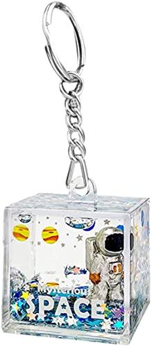 MWKL Llavero Colgante, Astronauta líquido Arenas movedizas acrílico Llavero Colgante Mochila Colgante Llavero de plástico Transparente Bolsa decoración