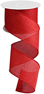 Red Solid Wired Edge Ribbon Cross Royal Burlap 2.5 Inch  x 10 yards : RG121224