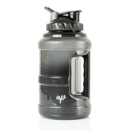 AP Sport Half Gallon Water Bottle with Filter | Lightweight Jug for Sports | Clear Nontoxic Plastic Drink Container with Leak-Proof Lid | Best Used for Gym, Camp, Office, Running and Hiking (Black)