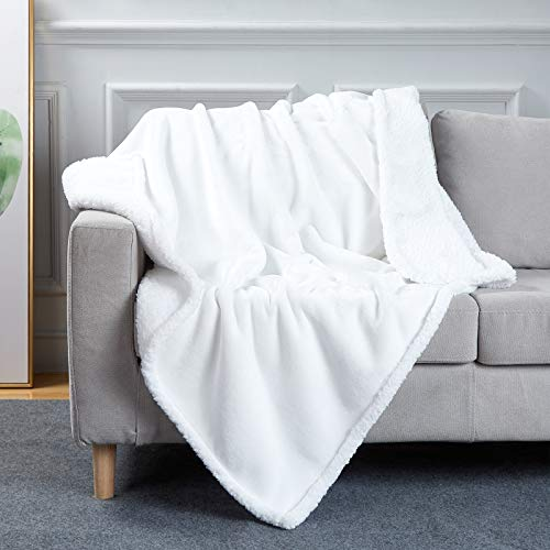 Bobor White Throw Blanket for Couch Bed, Flannel Sherpa Decorative Throw, Fuzzy, Fluffy, Plush, Soft, Cozy, Warm Blankets