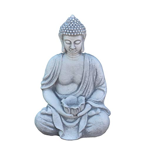 gartendekoparadies.de Massive Steinfigur Buddha Statue mit Schale aus Steinguss frostfest
