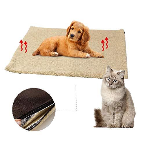 yummyfood Selbstheizende Decke Haustiere Heizkissen Heizmatte Fleece Hunde Katzen Wärmematte Waschbare Hundebett Katzenbett, 60x45CM